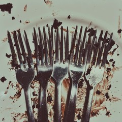 Close-up of dirty forks and plate after chocolate cake