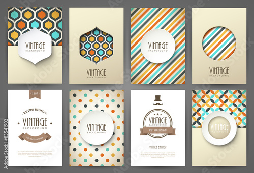 Plexiglas Vintage Poster Set of brochures in vintage style. Vector design templates.