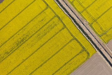 aerial view of burying gas pipe in a country harvest fields  are