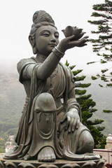 Angels statue praising to the Big Buddha at Lantau, Hong Kong