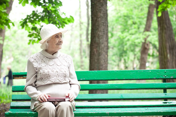 portrait of  happy grandmother on a park bench,