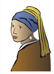 dibujo del cuadro de la joven de la perla