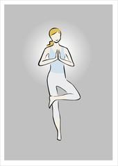 mujer haciendo yoga y meditando