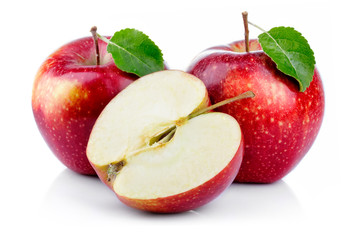Red apples with leaf and half section isolated