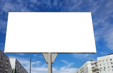 Blank billboard against sky