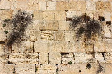 fragment of the Western Wall in Jerusalem, Israel
