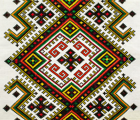 The traditional ukrainian national embroidery on linen