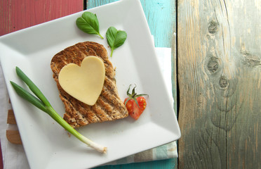 Healthy heart shape sandwich