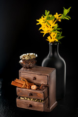 Baking background. Spices in wooden box