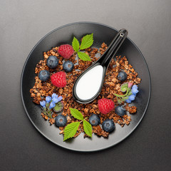 Homemade granola with berries . Top view