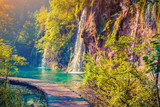 Fototapety Colorful summer morning in the Plitvice Lakes National Park.