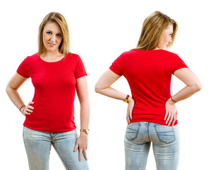 Happy blond woman wearing blank red shirt