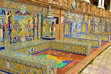 Viaggio in Spagna a Siviglia, Plaza de Espana, Mosaici