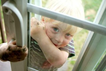 Dirty Little Boy Peeking in Window