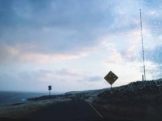 rainy road trip drive along the coast