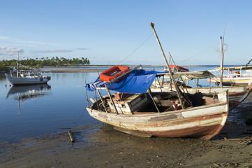 Brazilian Boats Low Tide Nordeste Bahia