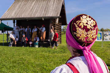 Woman in national costume on Savior of the Apple Feast Day