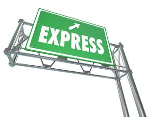 Express Fast Speedy Service Traffic Travel Freeway Green Road Si