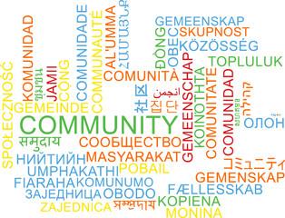 Community multilanguage wordcloud background concept