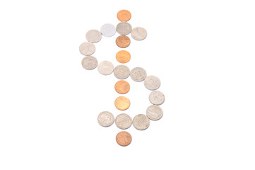 Dollar Sign Using Coins Over White Background