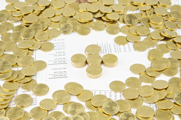 Pile of gold coins as plus have gold coins around