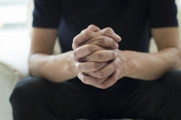 Men have formed a hand
