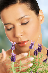 Beauty woman with lavender.