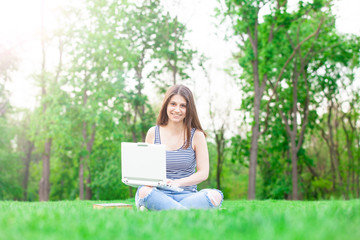 student girl with laptop computer