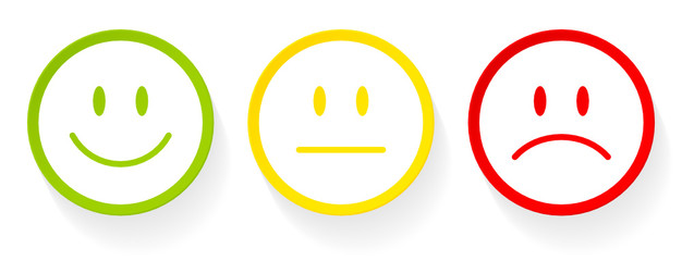 3 Smileys Green/Yellow/Red White