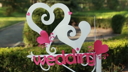 Wedding decor. Wooden plaque with the inscription Wedding