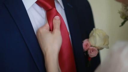 purple wedding tie and white shirt