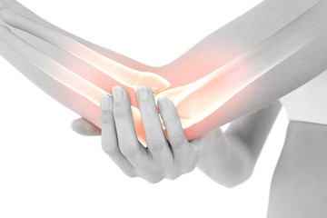 Highlighted bones of woman with elbow pain