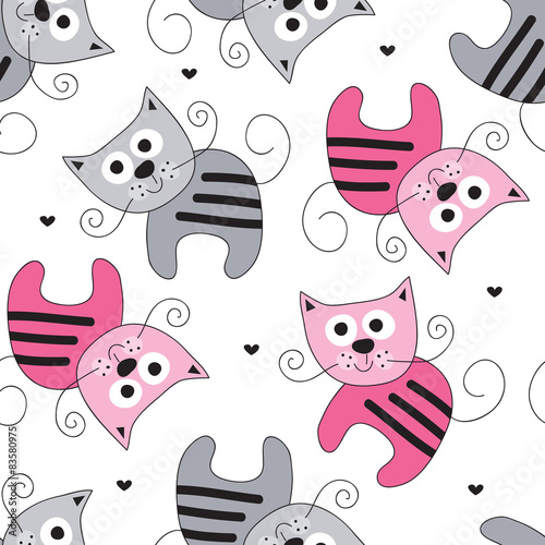 seamless cute cat pattern vector illustration