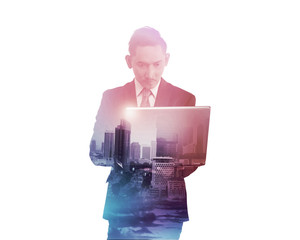 Business man with multiple exposure holding tablet computer