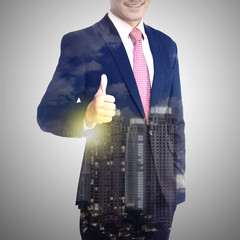 Multiple exposure business man show thumb up