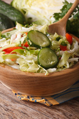 Salad of fresh cabbage and cucumber in a bowl. macro vertical