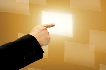 Business Man Hand Push Virtual Box