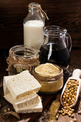 Soy products: soy flour, tofu, soy milk, soy sauce.