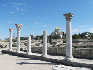Chersonese, columns of Basilica 1935 (VI-X c.),  Crimea