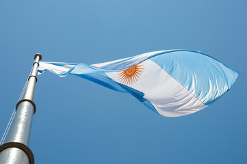 flying argentinian flag in argentina sky