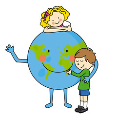 Children hugging the planet