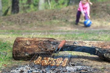 Camping grill with chicken meat cooking on campfire with playing