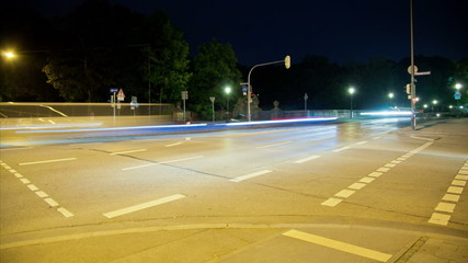 timelapse intersection at night