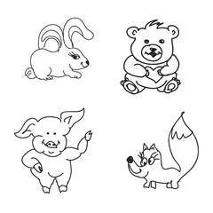 Set of baby animals  Doodles