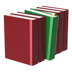 Blank red books row one green selected take answer icon