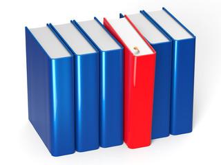 Blank books row blue one selected red choosing leadership