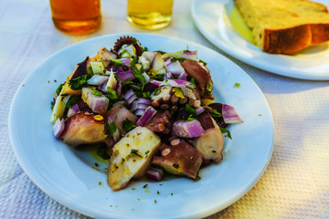 Octopus salad, traditional Mediterranean salad