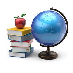 Apple globe books blank international literature icon concept