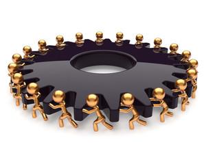 Partnership teamwork business process hard job black gear