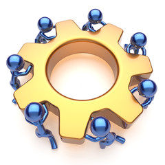 Partnership team work business process men workers gear
